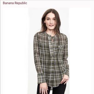Banana Republic Sheer Popover Plaid Tunic